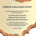 2012 OHRAB Achievement Award Plaque for Cleveland Memory Project