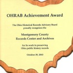 2012 OHRAB Achievement Award Plaque for Montgomery County