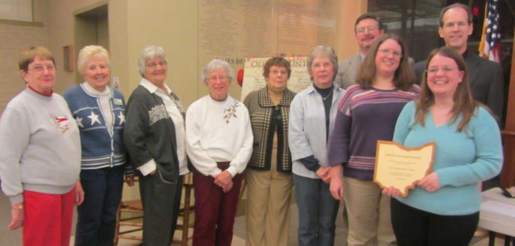OHRAB presentation to Clark County Historical Society, February 6, 2013. Left to right: Flossie Hulsizer, Marty Castle, Marguerite Brinkman, Ruth Stiles, Pat Baker, Virginia Warren, and Mel Glover (project volunteers); Pari Swift and Galen Wilson (OHRAB Representatives); Natalie Fritz (project coordinator)
