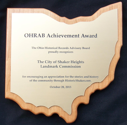 OHRAB 2013 AchievementAward: Shaker Heights Landmarks Commission plaque