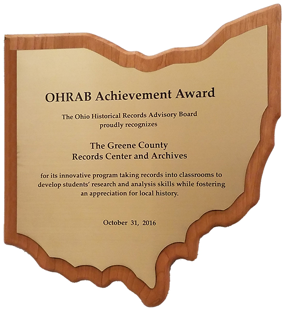 2016 OHRAB Achievement Award Plaque: Greene County Records Center and Archives